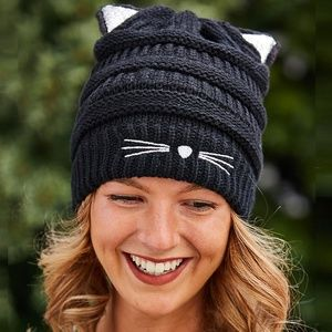 Black Cat Beanie with Sparkle Cat Ears Winter Hat